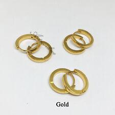 All 3 pairs men's Gold/silver/black Hip hop Stainless Steel Hoop Earrings 7-16mm