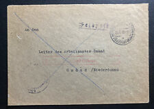 1945 Germany Feldpost Stampless Cover To Employment Office Gmund