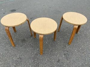 Set Of 3 Early Alvar Aalto Midcentury Modern Stacking Stools Tables