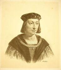 LITHOGRAPHIE de Jean-Baptiste MAUZAISSE Roi de France Charles VIII l'Affable