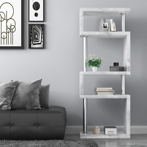 Miami 5 Tier Marble Veneer Shelving Unit, Media Storage Unit