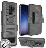 Black Magnet Grip Case + Belt Clip Holster Stand for Samsung Galaxy S9 Plus, S9+
