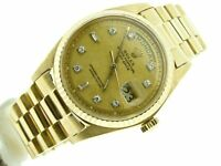 Men Rolex Day-Date President Solid 18K Yellow Gold Watch Linen Diamond Dial 1803