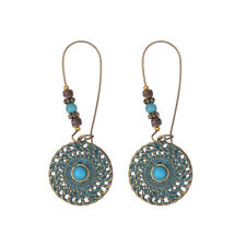 Vintage Bronze Unique Turquoise Hollow Drop Dangle Carved Women Retro Earrings