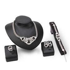 Fashion Women Dubai Costume Bridal Wedding Crystal Necklace Earring Jewelry Sets