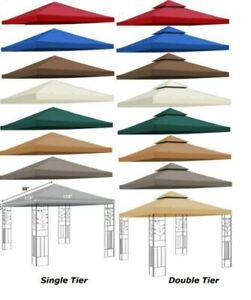 8x8' Gazebo Canopy Replacement Patio Outdoor Top Cover  Double Tier (Tan Color)
