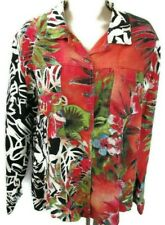 Chico's 2 Women's Shirt Jacket Size LG/12 Hawaiian Button-Front Red Floral Linen