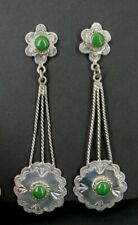 Taxco Earrings Sterling Vintage Long Malachite Dangle Pierced Silver Mexico 925