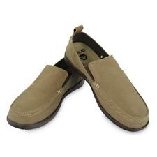 Crocs Walu Khaki / Espresso Men's Size 13, 15  Canvas Slip On Loafers Shoes  NWT
