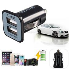 New Black 2 In 1 Universal Usb 12-24v Dual Car Charger Cigarette Socket Lighter
