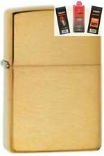 Zippo 204b brass without letters Lighter + FUEL FLINT & WICK GIFT SET