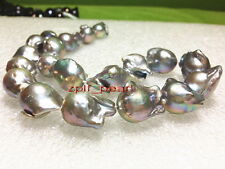"""AAAAA LUSTER REAL 17""""30mm NATURAL south sea baroque SILVER GRAY pearl necklace"""