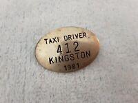 Vintage 1981 Taxi Driver Badge Pin 412 Kingston Ontario Canada