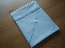 Handmade Baby Pale Blue Polycotton Sheet-Blue Gingham Hearts Top Edge Crib/moses