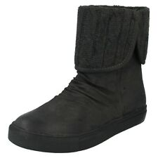 SALE LADIES DOWN TO EARTH F50022 KNITTED TOP FLAT CASUAL WINTER BOOTS