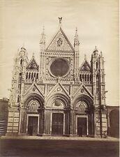 Sienne Siena Extérieur Duomo Italie Italia Grande Photo Lombardi Vintage albumin