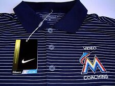 MIAMI MARLINS VIDEO COACHING TEAM ISSUED NIKE STRIPED POLO SHIRT LARGE NEW NWT