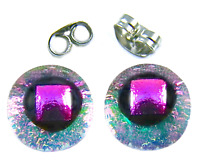 "Tiny DICHROIC Post EARRINGS 1/4"" 10mm Clear Magenta Pink Gold Fused GLASS STUDS"