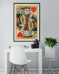 """1870 King of Hearts Playing Card POSTER! (up to 24"""" x 36"""") - Gambling - Man Cave"""