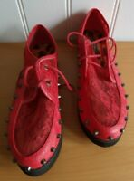 Iron Fist SHOES UK 7 NEW RARE Goth Leather & Lace Studded Punk Skull Flats