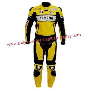 NEW HANDMADE MEN YAMAHA 46 YELLOW COWHIDE RACING MOTORCYCLE LEATHER suit