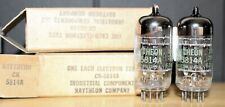 RAYTHEON CK-5814 12AU7 PERFECT MATCH PAIR BLACK 3 HOLE PLT 3 MICA VINTAGE 1962