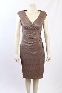 NEW Ralph Lauren -Size12/14- Bronze Metallic Formal Cocktail Dress-RRP:$199.00