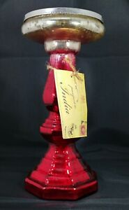 New with Tag Red Glass Faux Mercury Glass Candle Stick from TK Maxx