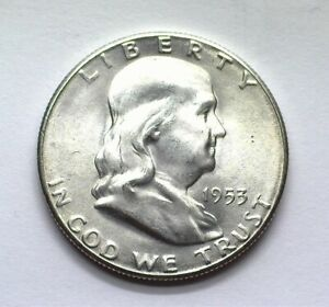 1953-S FRANKLIN SILVER 50 CENTS CHOICE / GEM UNCIRCULATED