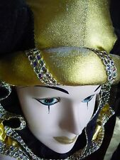 1990s ARTISAN Hand Painted Woman Jester Face/Head/Mask Wall Hanging New Orleans