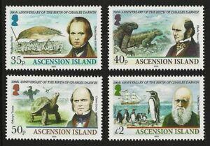 ASCENSION 2009 CHARLES DARWIN SHIPS BIRDS PENGUINS TURTLES PREHISTORIC SET MNH