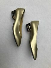 Vtg Annie Gold leather 60s slip on with amazing gold cougar embellished heel 10M