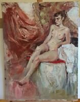 MODERN ORIGINAL OIL PAINTING PORTRAIT NUDE WOMAN CANVAS IMPRESSIONISM