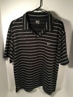 Nike Men's Large Performance Polo T-Shirt  Black White Striped