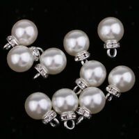 10pcs Pearl Rhinestone Pendants Charms for DIY Necklace Jewelry Making 10mm