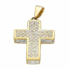 9Carat Yellow Gold 0.50ct Diamond Cluster Cross Pendant (16x21mm)