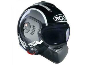 MOTORBIKE HELMET ,ROOF BOXER V8 LP20 ,BLACK/METAL/WHITE .