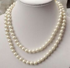 """Pretty 8mm white natural South Sea Shell Pearl necklace 36"""""""