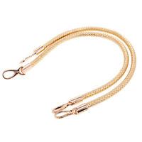 2x DIY Shoulder Bag Replacement Handle Braided Rope Handbag Strap Golden 60cm