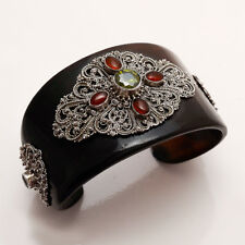 Natural Peridot Amber Yemeni Aqeeq 925 Sterling Silver Designer Handcuff Bangle