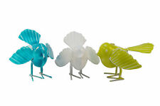 """3 x Vogel """"Luftikus"""" klein Dekofigur grün weiß blau Metall je 9 x 6 cm"""
