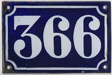 Old blue French house number 366 door gate plate plaque enamel metal sign c1900