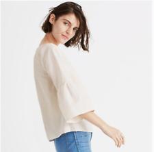 MADEWELL Womens Pink White Stripe Bell Sleeve Cotton Poplin Top Sz Medium