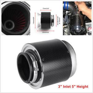 "3"" Inlet /5"" Carbon Fiber Style Hi-Flow Air Filter For Cold Air/Short Ram Intake"