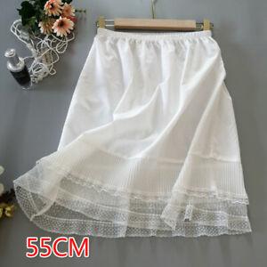Ladies Lace Splice Petticoat Skirt Pleated Half Slips Underskirt Ruffles Summer