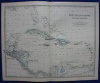 WEST INDIES, CENTRAL AMERICA, CARIBBEAN, original antique map, Johnston, 1871