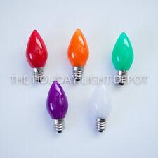 Box of 25 C7 MultiColor LED Christmas Light Bulb Smooth Opaque Retro Fit Bulb