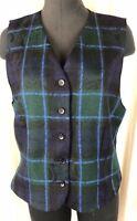 Pendleton Classic 100% Virgin Wool Paisley Tartan Lined Blue Green Vest Size 14