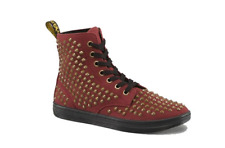 Doc Martens Cherry Red Rouge canvas Shorestud 7 eye lacing boot UK9 US11 Women
