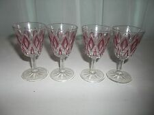Vintage Set of 4 VMC Reims France Cordial Red Diamond Pattern Glasses